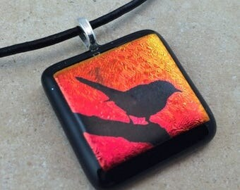 35% OFF Bird Necklace, Red Dichroic, Dichroic Pendant, Fused Glass Jewelry, Dichroic Glass Jewelry, Dichroic Pendant Necklace - HEA343