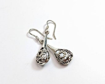 Hearts within hearts - sterling silver drop earrings with an intricate filigree, heart design, silver earrings, contemporary and unusual