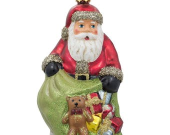 "5"" Santa Holding a Bag Full of Gifts Glass Christmas Ornament"