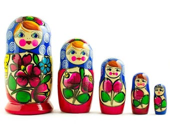 "6"" Set of 5 Maydanovskaya in Blue Scarf Russian Nesting Dolls"