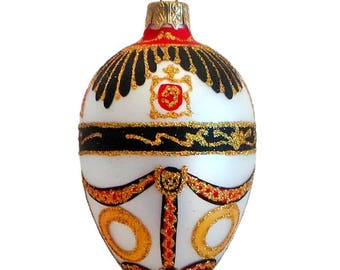 "4"" Coat Of Arms Inspired Egg Glass Christmas Ornament"