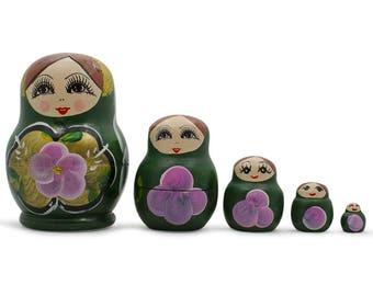 "3.5"" Set of Green Dress Russian Wooden Nested Dolls"