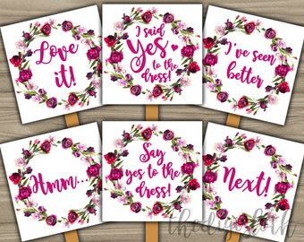 Say Yes To The Dress - INSTANT DOWNLOAD - Bridal Shower Game Wedding Dress Shopping Paddle Signs - Watercolor Floral - Purple Pink Boho Chic