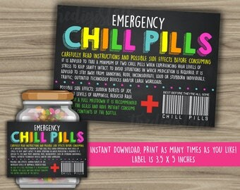 Chill Pills Printable Chalkboard Label - Funny Gift - INSTANT DOWNLOAD - Christmas Gift For Boss - CoWorker - Work Office Gag Gift - PL06