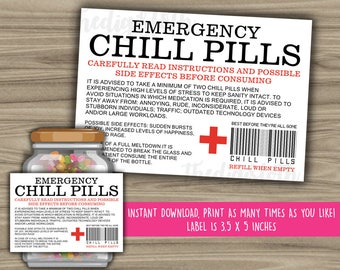 Chill Pills Printable Label - Funny Gift - INSTANT DOWNLOAD - Christmas Gift For Boss - CoWorker - Work Office Gag Gift - PL11