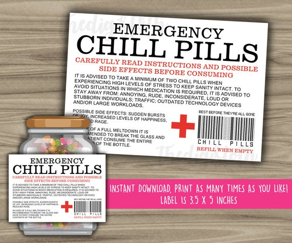 Delicate image throughout chill pill label printable