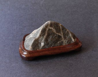 Suiseki Glacier Mountain, natural viewing stone on hand carved Kingwood stand, home decor
