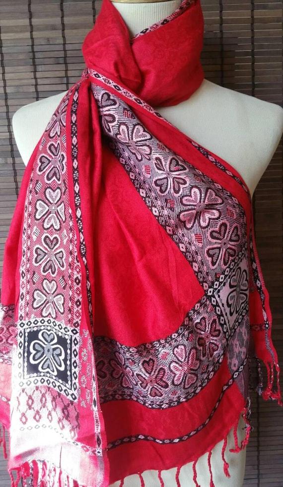 Pashmina blend scarf, silk blend shawl, pashmina scarf, large stole, Ethnic Scarf, Silk Scarf, Boho Shawl, xmas gift for her, blanket scarf