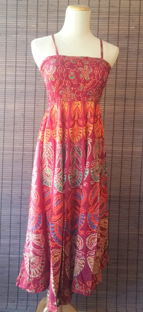 XS/S/M Maroon Bohemian Boho dress|Gypsy dress|summer dress|Beach dress|Mandala dress|ethnic dress|1970 style dress|Spaghetti top Dress