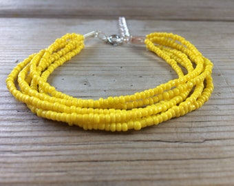 Yellow beaded bracelet, yellow multistrand, boho bracelet, yellow cuff bracelet, yellow bracelet, yellow bridesmaids, bright bracelet