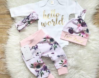 Hello World Coming Home Outfit Newborn Girl Outfit Personalized Baby Girl Outfit Photo Prop Floral Outfit  Baby Shower Gift Any Name