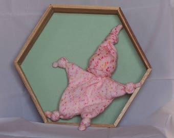 Handmade crochet toy Pixie white Heather pink baby