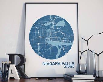 Niagara Falls, Ontario City Map Print