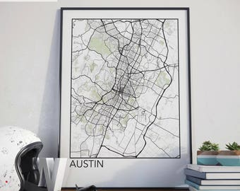 Austin, Texas Minimalist City Map Print