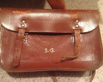 Vintage leather satchel bag from london england