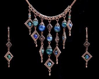 Green-blue stone jewelry set Azurmalachite Rhombus jewelry set Antique copper jewelry set Geometric design set Boho gypsy set Easter gift