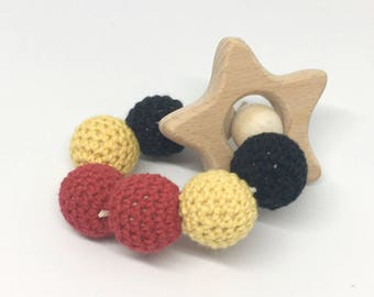 Multicolored star wooden beads rattle