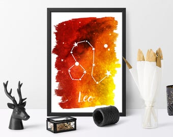 Leo, printable, watercolour, zodiac print, gift for her, watercolour galaxy, astrology art, wall art, instant download,
