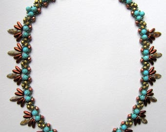 multiple beads hand-woven necklace