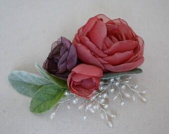 Pink and purple hair clip, hair comb, flower hair accessory, hair flower, bridal headpiece, bridesmaid hair accessory, wedding hair piece
