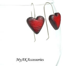 Valentines day gift - red heart earrings - sterling silver earrings - red and black earrings - valentines earrings - dangle earrings - gift