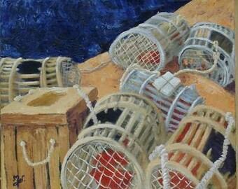 Lockers, marine painting contemporary original acrylic painting