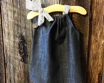 Sale Girls Denim Dress , Girls Rustic Dress - Baby Girl Pillowcase Dress