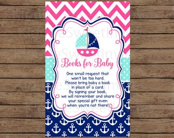 Printable Pink and Navy Blue Nautical Sailboat Baby Shower Book Request, JPEG 300DPI, 4x2.5 inches for Personal Use