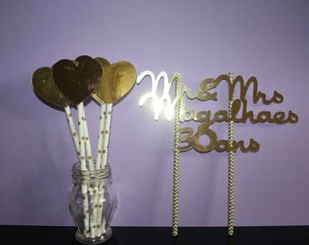 set cake topper, name, date, and 5 hearts