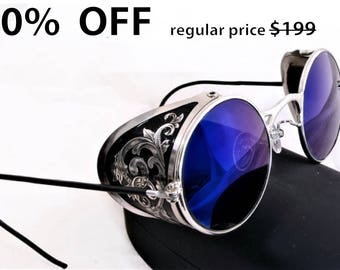 Steampunk Goggles Aviator Sunglasses Sterling Silver Plated  Side Shields Victorian engrave vintage Driving glasses Zeiss Mirror Blue