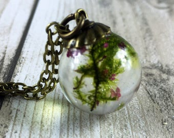 Real moss jewelry-moss necklace-resin jewelry-resin orb-terrarium jewelry-terrarium necklace-pink blossom-moss