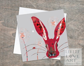 A Hare and his lady greetings card - ladybird -dandelion puffs -Bunny card with Poppy flowers -Bright bunny card, Rabbits, Hares