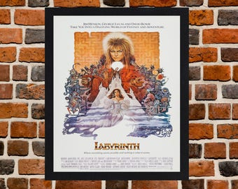 Framed Labyrinth David Bowie Movie / Film Poster A3 Size Mounted In Black Or White Frame