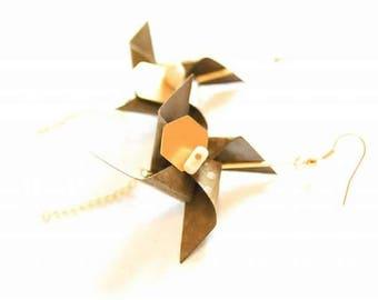 Earrings original origami Brown