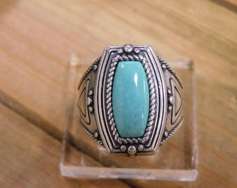 Turquoise Sterling Silver Ring Size 10.25