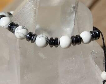 howlite and hematite rondelle shambala bracelet