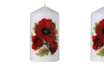 Poppies - Scented Floral Bouquet Pillar Candle (Set of Five)