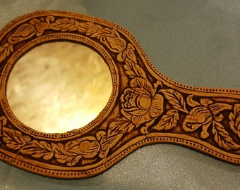 Exquisite mirror made of birch bark. Handmade.