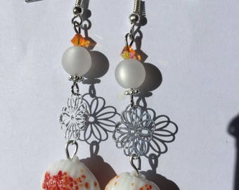White and orange earrings, pearls, Crystal, shell and flower print