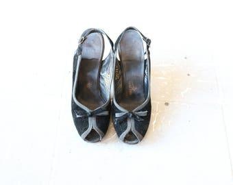 50's Black Velvet Peep-toe Kitten Heel Vintage Shoe-Size 6