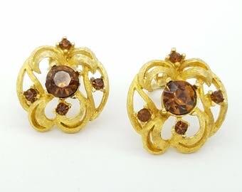 Vintage Citrine Rhinestone & Gold Tone Clip Earrings