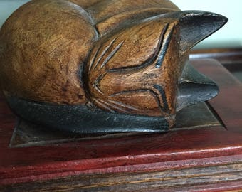 SALE: Vintage Wood Carving of a Kitty Cat Sleeping on Books