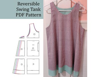 Women's Reversible Swing Tank Top PDF Pattern with length variation, Flared, Easy and Comfortable, sewing Sizes XS, S, M, L, XL, bust 32-41