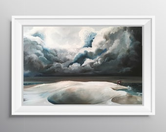 On the Front Line - Physical Print of Storm Front Clouds on Sand Dunes Painting (Multiple Sizes)
