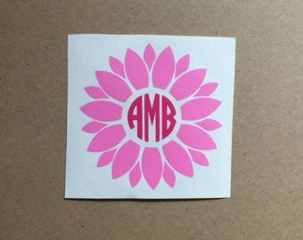 Flower Monogram Decal | Flower Decal | Monogram Sticker | Circle Monogram | Tumbler Decal | Car Decal | Laptop Decal |