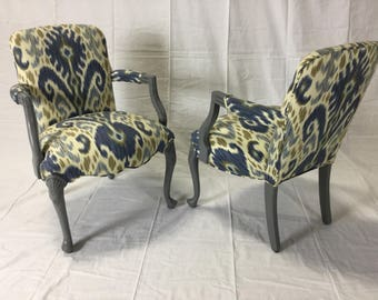 Ca. 1900s Gray Lacquered Cabriole Legs Chairs Reupholstered In Ikat Fabric by Kravet