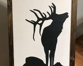 Elk Art; Elk Sign; Elk Scene; Elk Silhouette; Canada Art; Elk; Moose; Elk Antlers