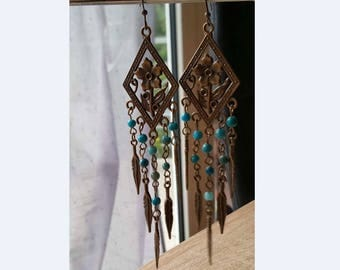 Antique vintage style boho Chrysocolla beads gemstone long dangle hook earrings