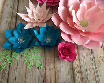 Set of 8 paper flowers /wall decor /party decor