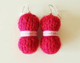 Earrings in the shape of balls of Red yarn (customizable)